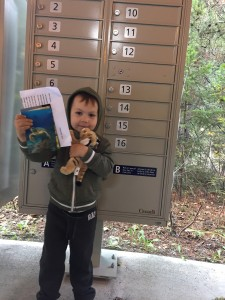 Baby Meow arrives back home to Jaxson with a letter and postcards of his travels.