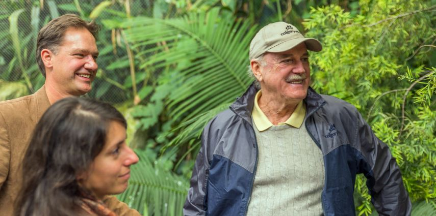 Dr. Malu Celli, Dr. Axel Moehrenschlager and John Cleese have a laugh while visiting the TransAlta Rainforest.