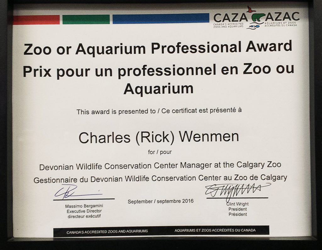 The Zoo or Aquarium Professional Award given to Rick Wenmen from CAZA.