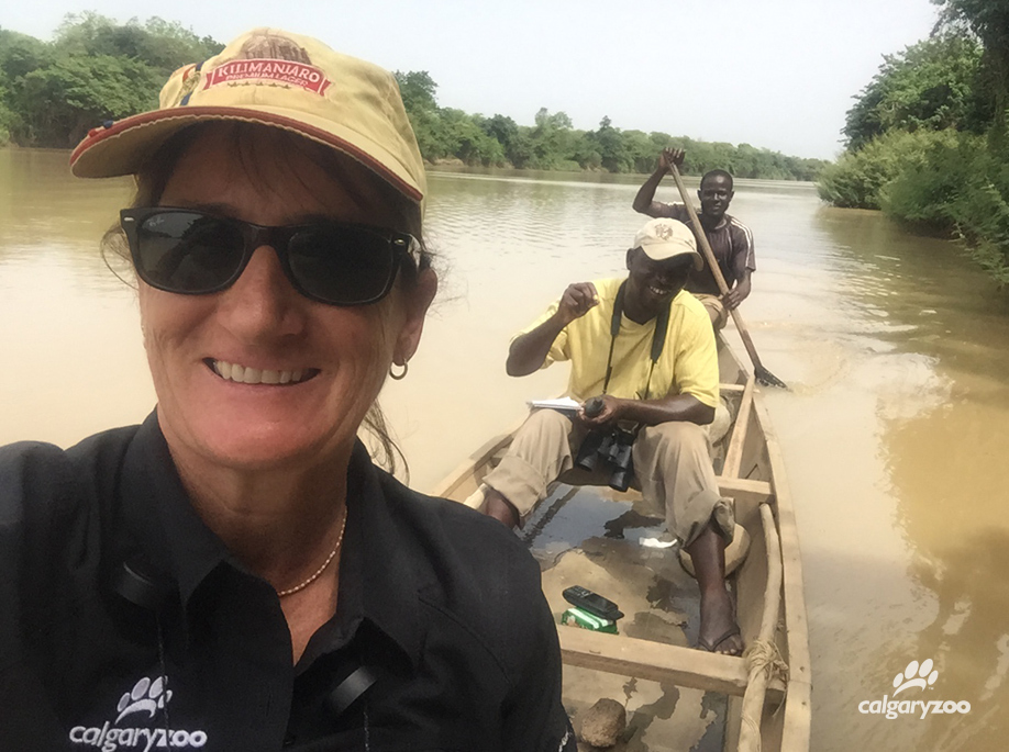 Donna with the hippo survey team on the Black Volta river north of the hippo sanctuary.